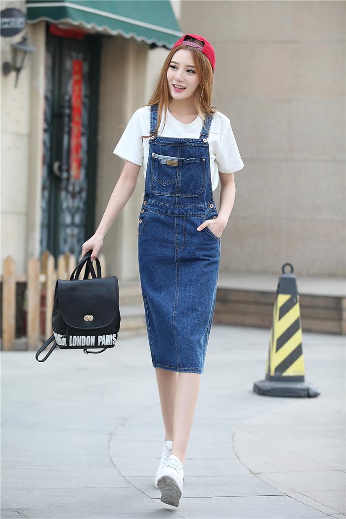 新款韩版修身显瘦学院风牛仔背带裙