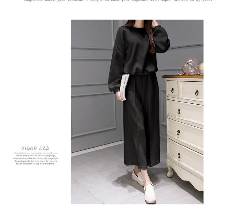 2016春装两件套韩版长袖针织衫搭配阔腿裤宽松休闲时尚套装女