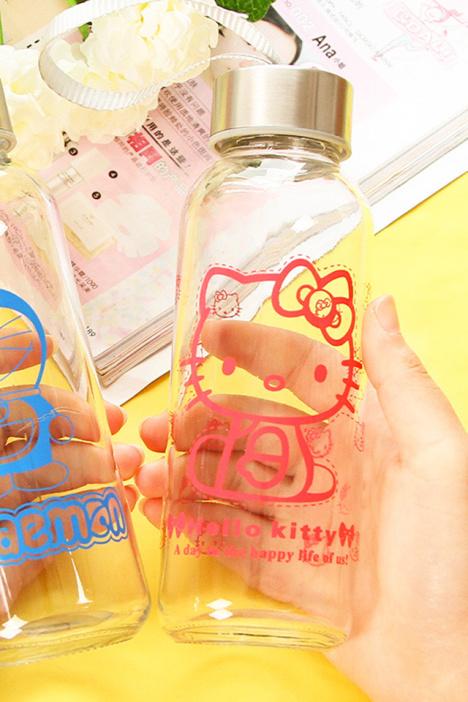 创意叮吵当水杯可爱玻璃瓶卡通kt猫儿童女学生随手杯子