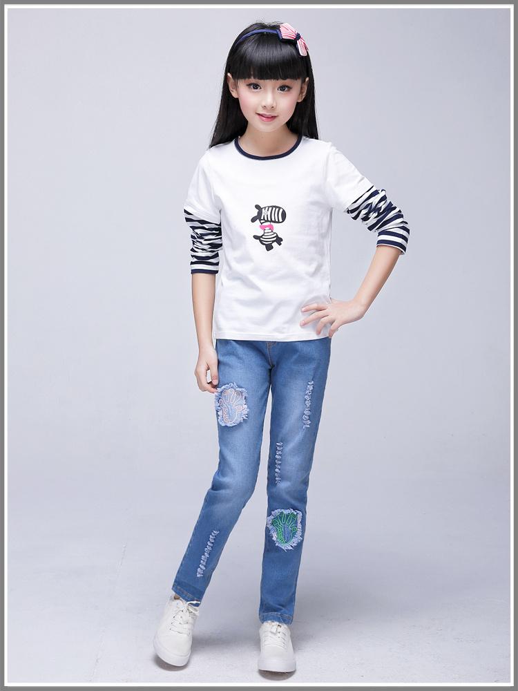 2016春季新款 中大童女童牛仔裤 女孩裤子