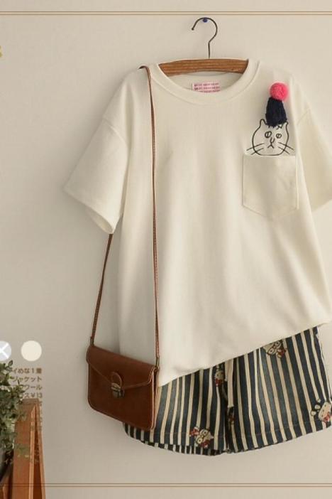 甜美可爱刺绣猫咪棉短袖t恤女白金天使日系森女系2016春季女装