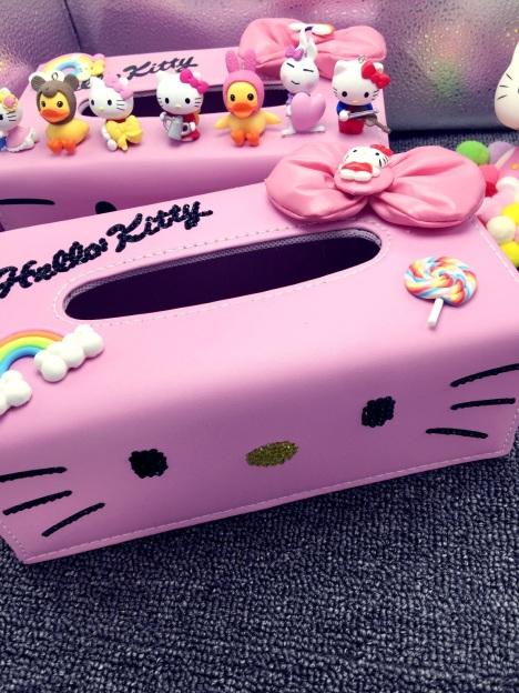 【kitty镶钻pu皮革卡通可爱纸巾盒凯蒂猫抽纸盒】-无