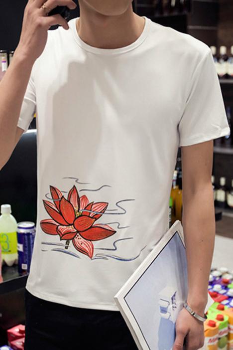 大码荷花图案短袖t恤
