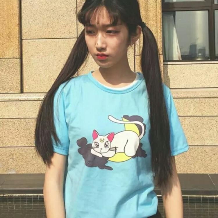 日系软妹夏季女装可爱猫咪卡通萌圆领短袖套头t恤打底衫上衣
