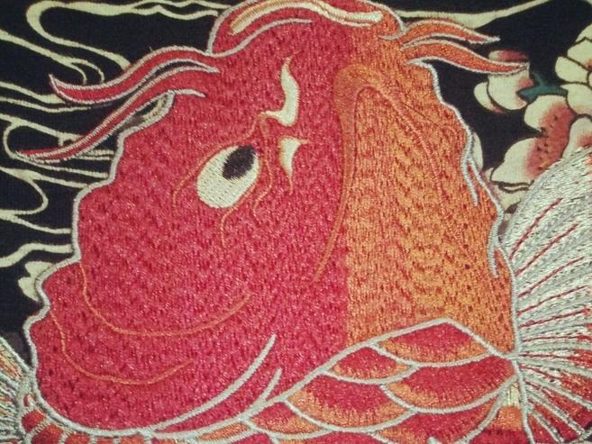 韩国ulzzang日式浮世绘原单日本鲤鱼重磅情侣款刺绣印花宽