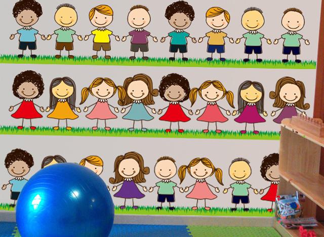 【可愛小朋友手拉手幼兒園開學墻貼畫卡通小孩客廳】