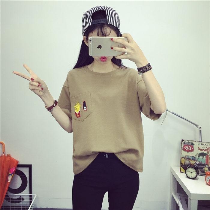 【韩版口袋薯条卡通头像t恤】-衣服-服饰鞋包