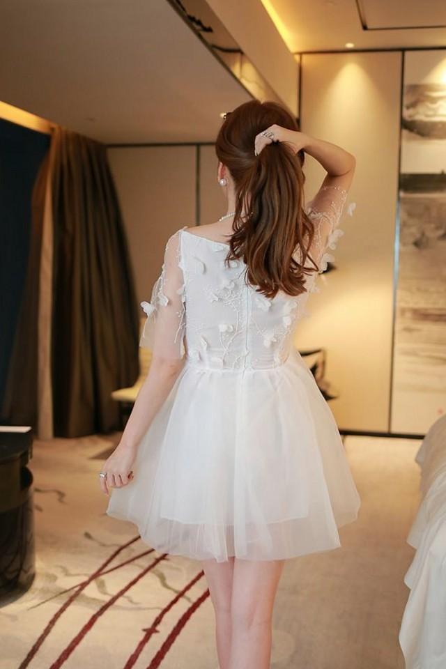 【天使伊人】欧根纱一字领可爱公主连衣裙名媛网纱蓬蓬裙礼服裙