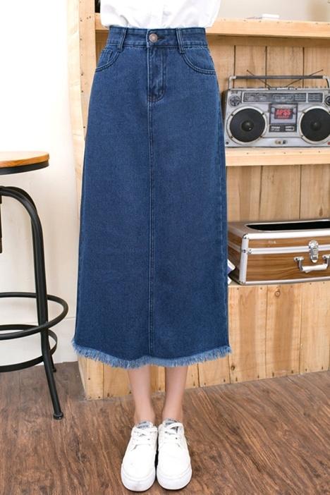 【深蓝色磨白毛边长款牛仔半身裙】-衣服-半身裙
