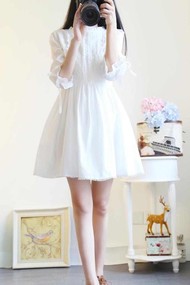 小清新日系蕾丝连衣裙可爱白色裙子