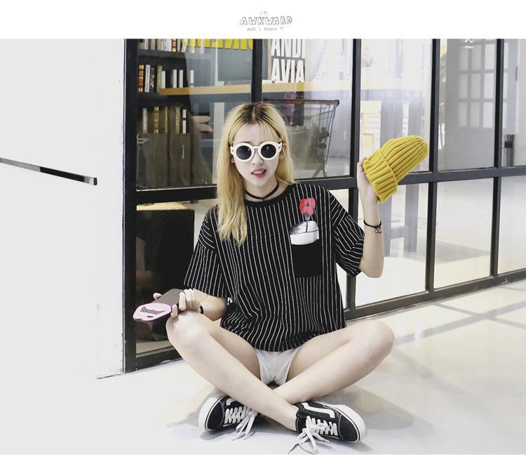 【 韩版新款玫瑰花朵印花胸花竖条纹t恤】-衣服-服饰