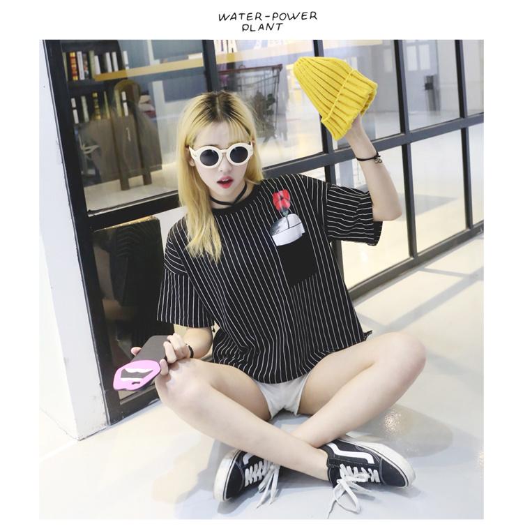 【韩版新款玫瑰花朵印花胸花竖条纹t恤】-衣服-服饰鞋