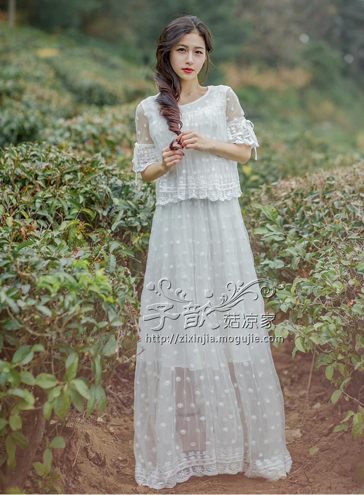 欧式蕾丝刺绣假两件仙女裙】-衣服-裙子