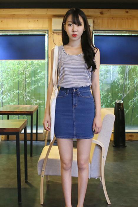 【韩版高腰牛仔半身裙】-衣服-半身裙