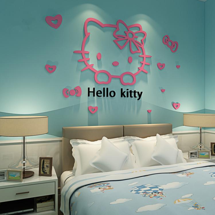 【凯蒂猫卡通儿童房亚克力水晶创意卧室3d立体墙贴】