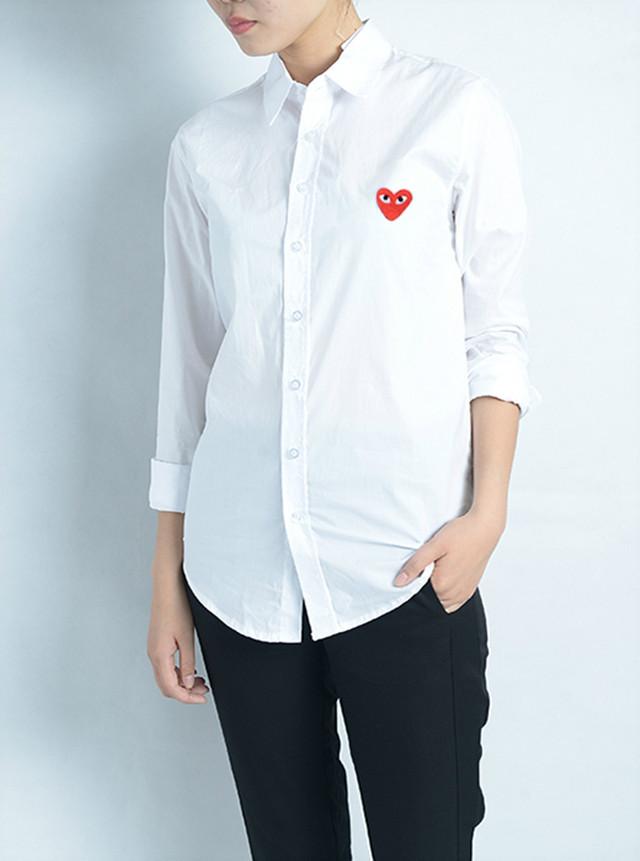 结婚照登记证件照男女情侣刺绣桃心白色衬衫