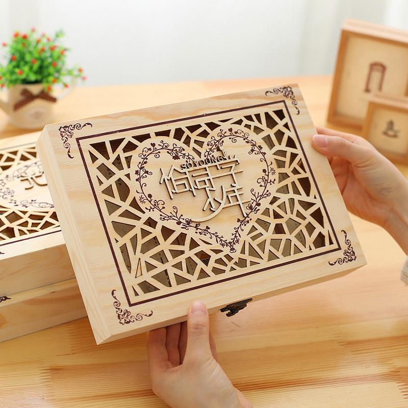 复古创意镂空木盒同学录活页学生毕业纪念册创意唯美