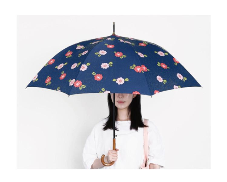 天黑黑新品 山茶花长柄伞晴雨伞森活小清新樱桃雨伞