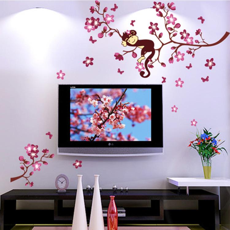 【猴子树枝卡通墙贴儿童房幼儿园装饰墙贴纸】-家居