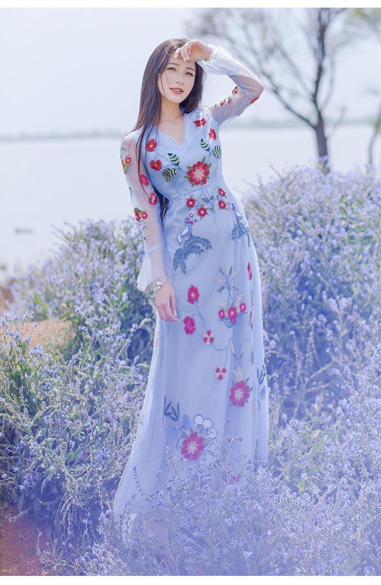 新款dg倪妮高圆圆同款新款仙女v领网纱绣花礼服连衣裙