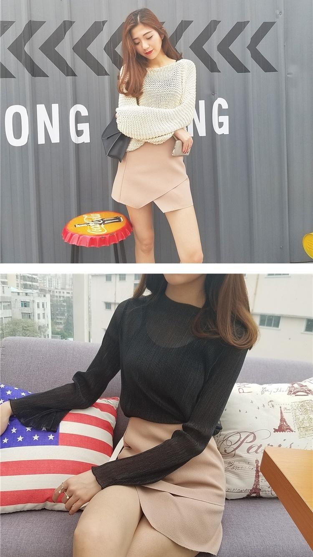 2016春夏新款时尚裁剪半身裙纯色短裙女