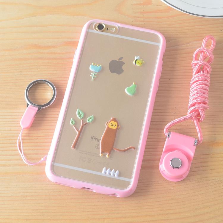 【动物乐园苹果6plus红米note3oppor7挂绳手机壳】