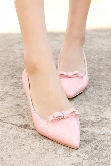 甜美公主蝴蝶结尖头细跟百搭高跟鞋【跟高5厘米】