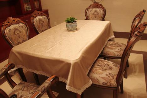 【欧式金色压花餐桌布艺桌布纯棉花边定制包邮】-无