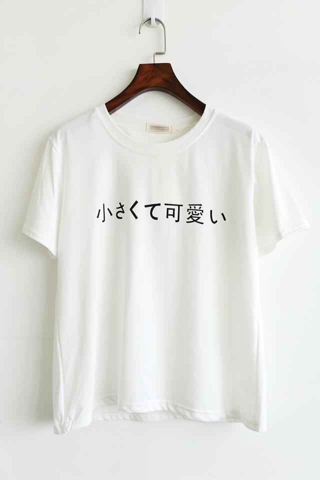 【你好夏季可爱简约女纯棉百搭学生半袖上衣韩文字母