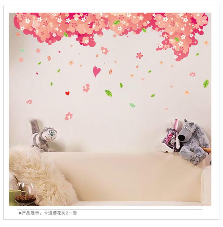 【超大樱花树卡通墙贴】-null-贴饰