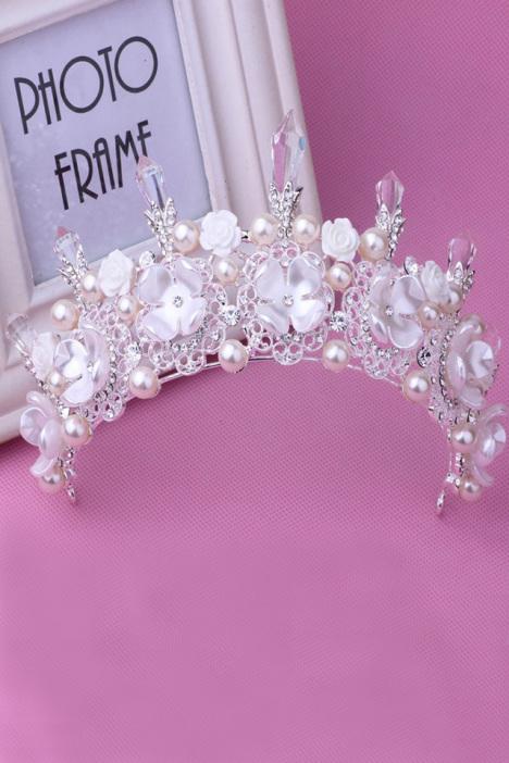 婚礼结婚珍珠水钻水晶皇冠