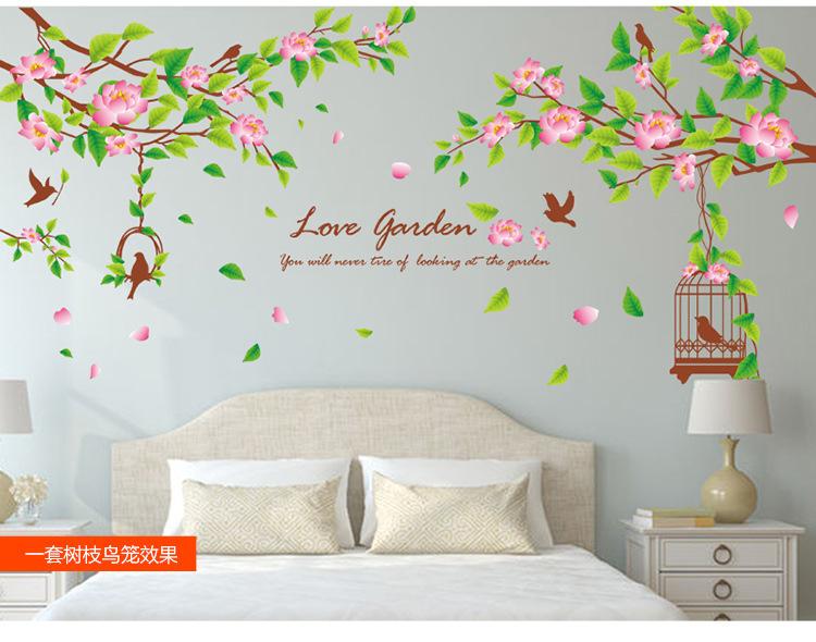 【客厅沙发餐厅电视背景墙贴纸小清新绿叶树枝鸟笼】