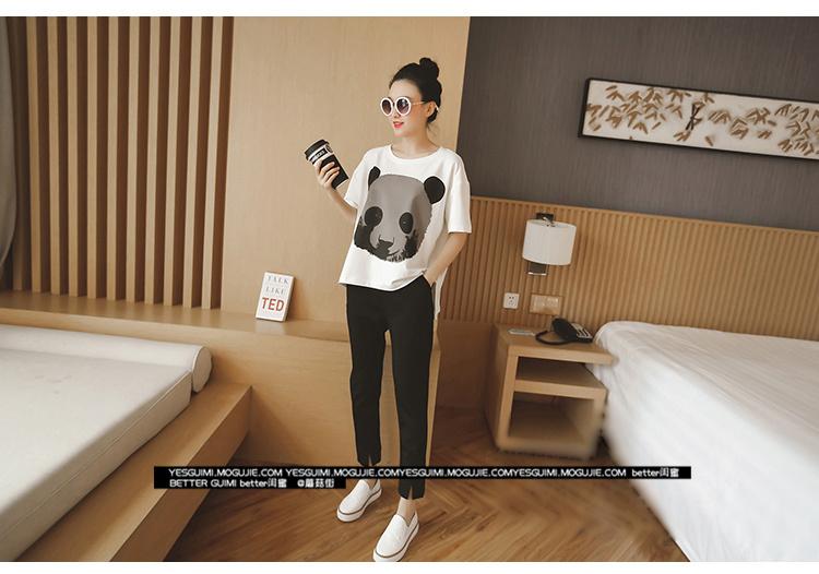 【减龄必备】韩版休闲可爱熊猫套装t恤 小脚裤两件套