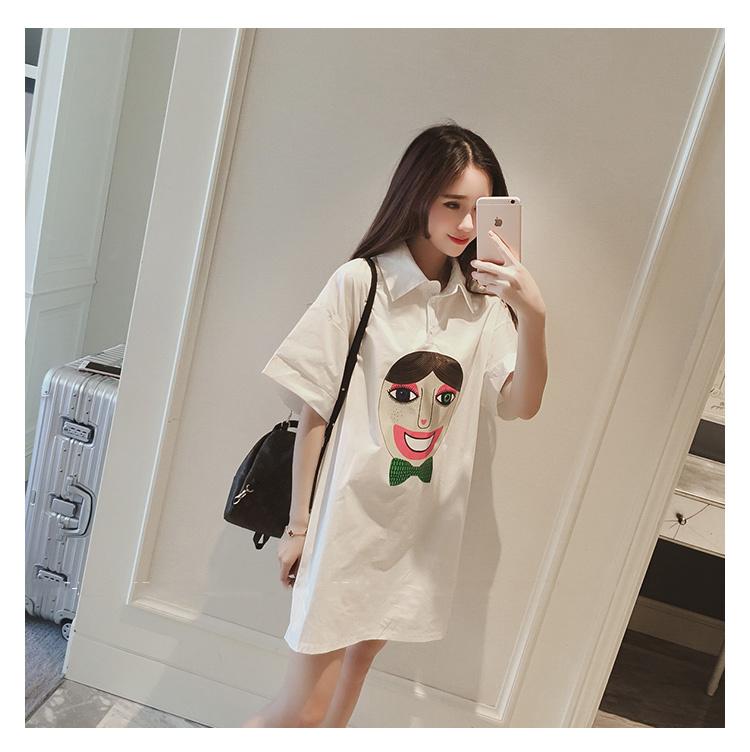 韩国可爱人头宽松白衬衫连衣裙