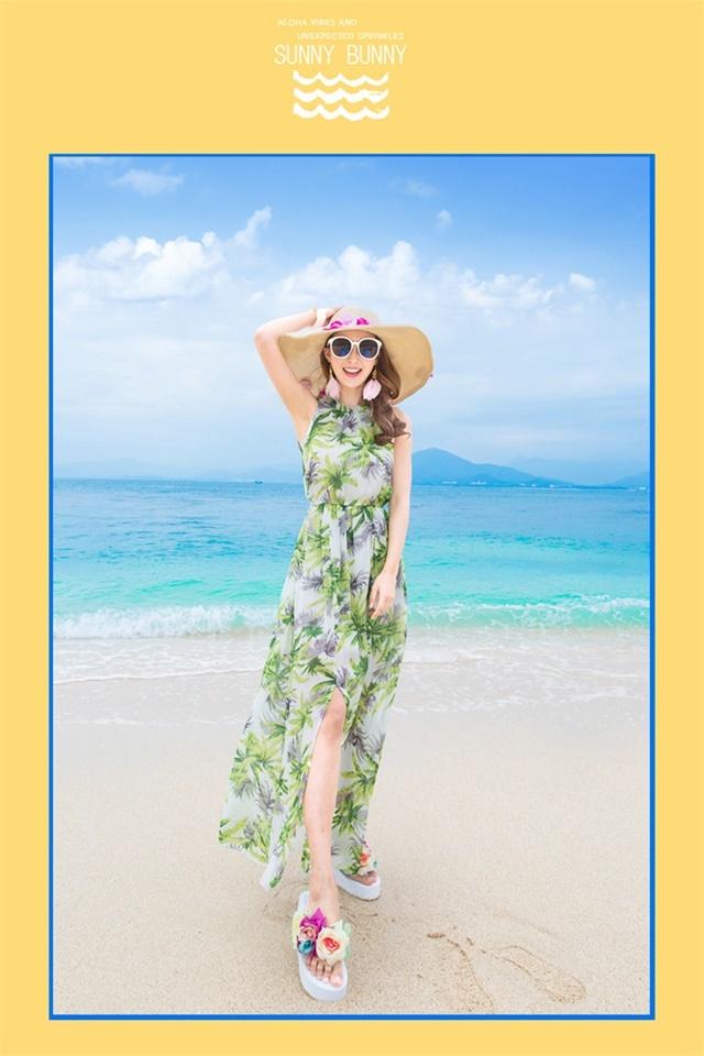 【2016新款夏威夷风情挂脖连衣裙度假波西米亚海滩】