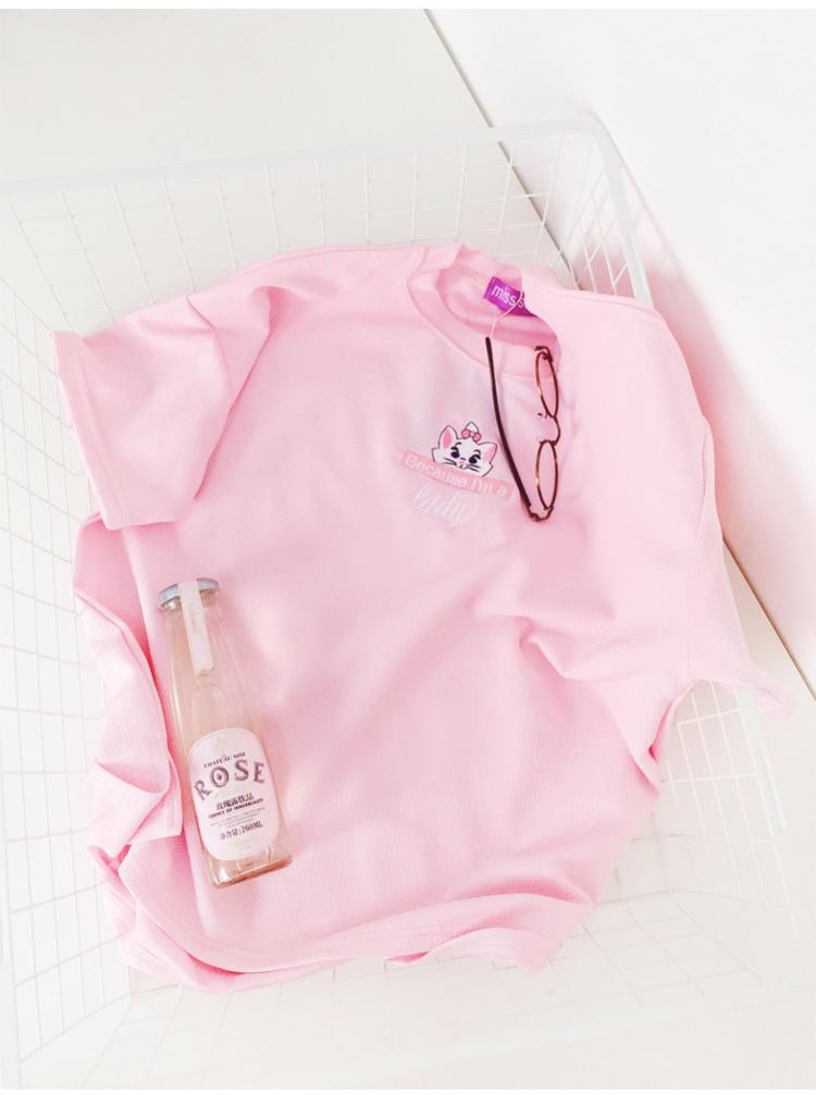 软妹韩版小清新可爱小猫咪刺绣冰激凌色圆领t恤