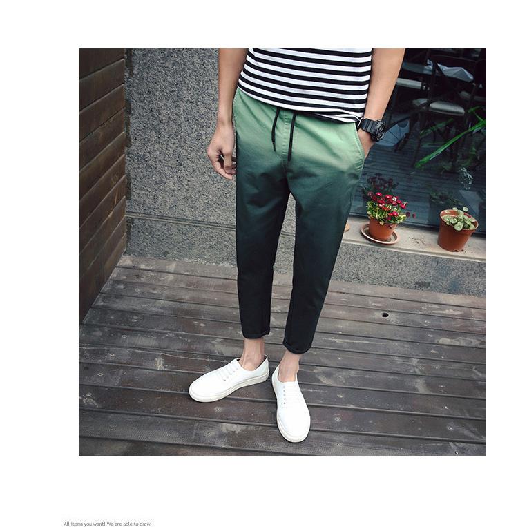 【2016夏季新款渐变色水墨中国风九分裤】-男装-裤子