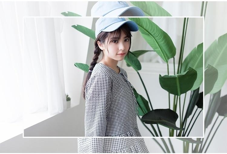 016韩版夏季女学院风复古文艺格子学生小清新棉麻连衣裙女短裙