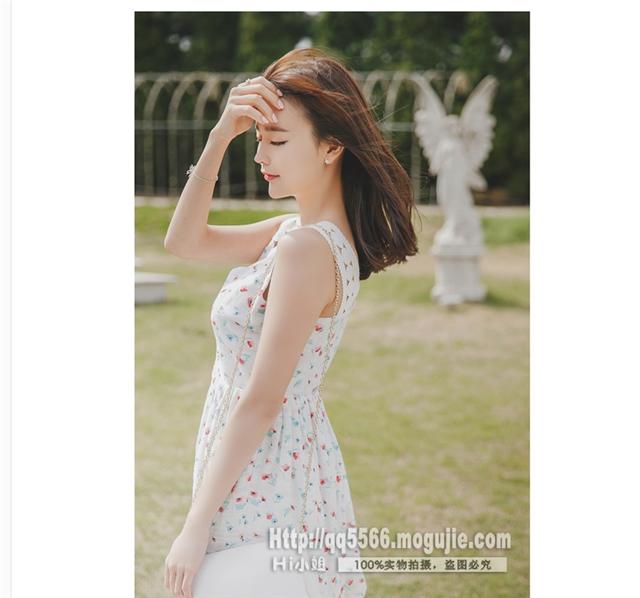 夏季新品韩版小清新碎花收腰吊带连衣裙