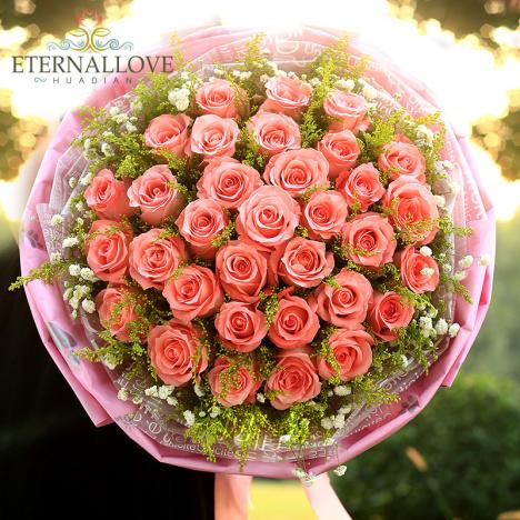 重庆同城鲜花速递 手捧玫瑰花束礼盒表白生日鲜花送花