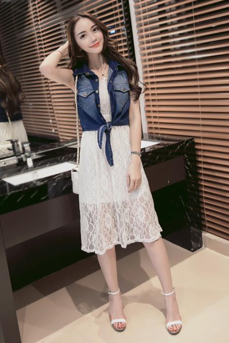【【叮叮】2016新款韩版牛仔马甲+蕾丝中长连衣裙两