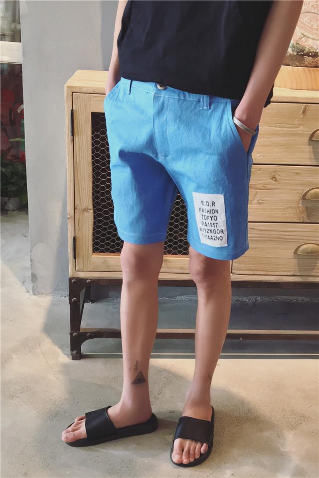 【小清新时尚字母牛仔短裤】-男装-牛仔裤