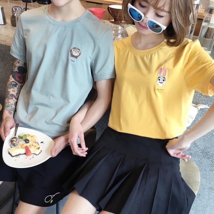 【【sjs】夏季新款疯狂动物城刺绣情侣短袖t恤套装】