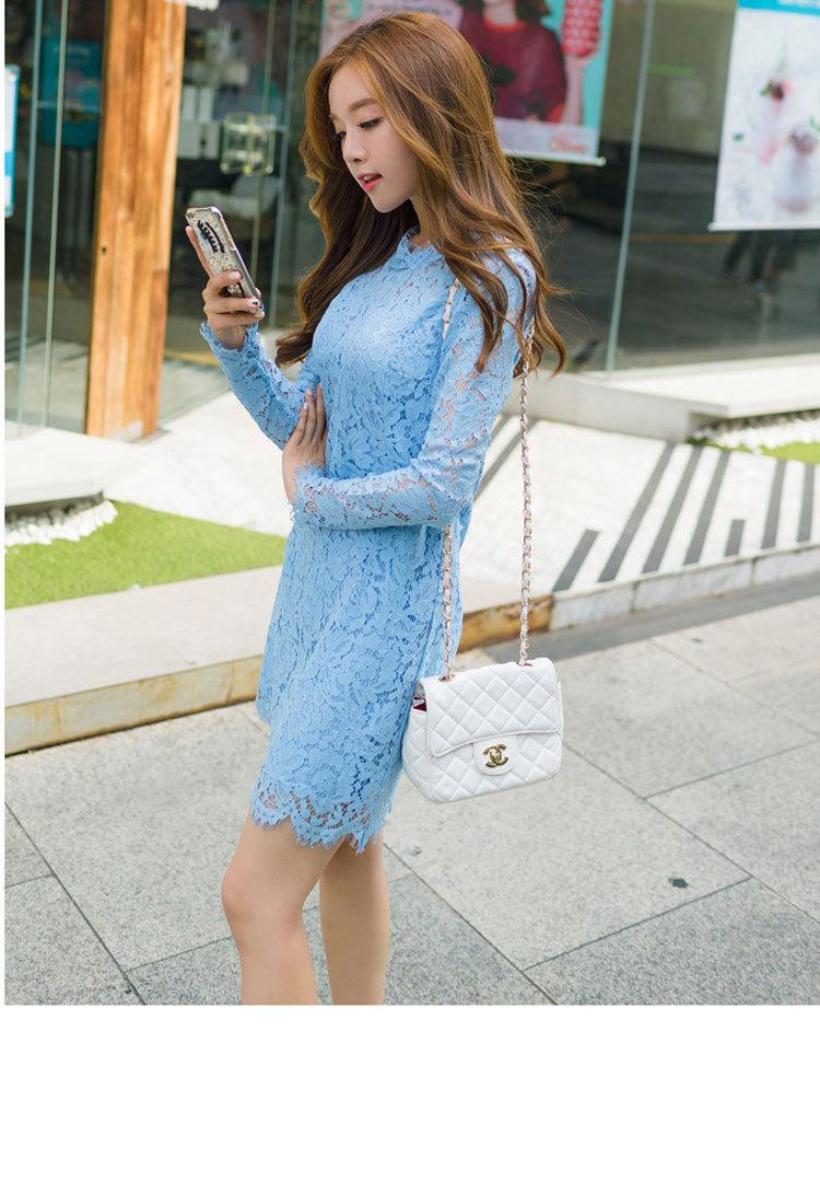 韩版长袖睫毛修身蕾丝连衣裙 全手工制作