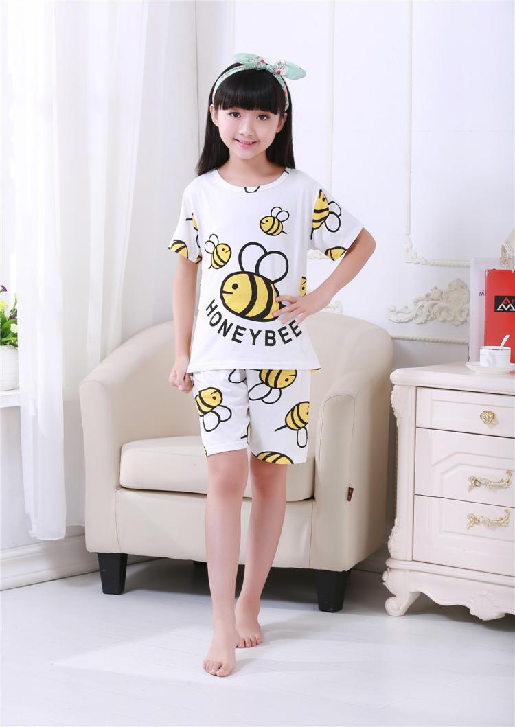 夏季新款卡通韩版短袖小女孩儿童睡衣家居服套装