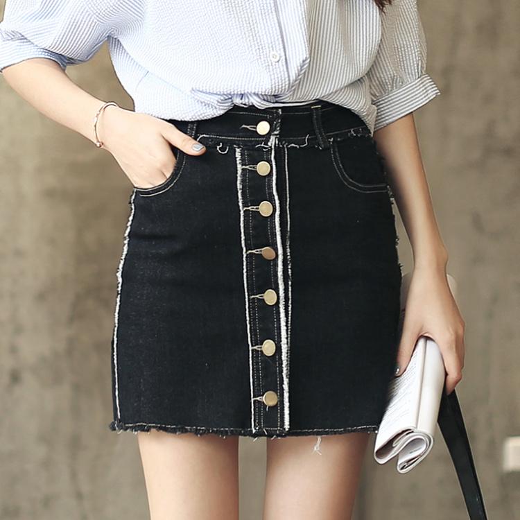 【黑色高腰牛仔裙显瘦修身a字裙】-衣服-半身裙
