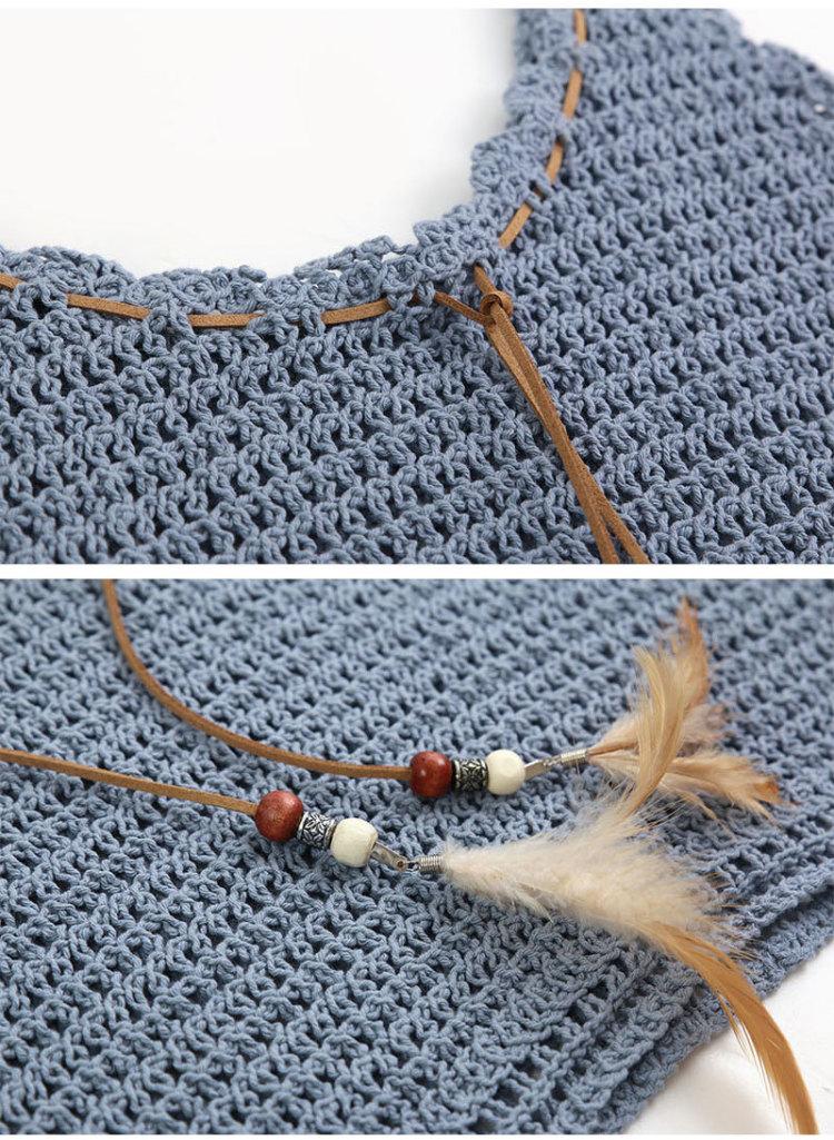 【皮绳系带编织吊带罩衫小背心】-衣服-针织衫