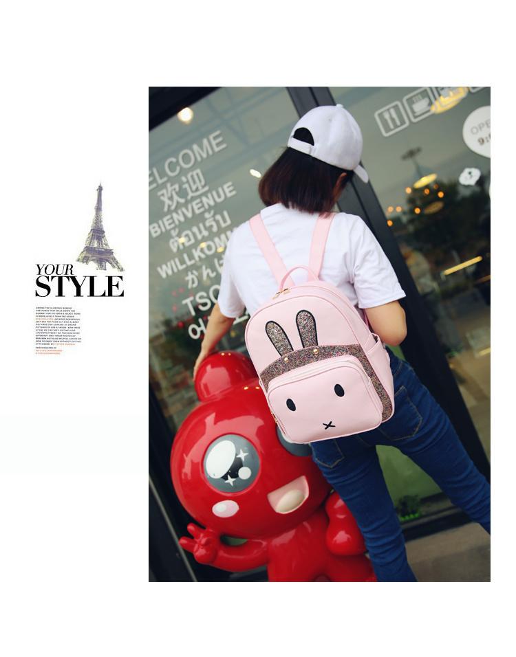 【韩版学院风双肩包女兔耳朵双肩包可爱背包】-包包