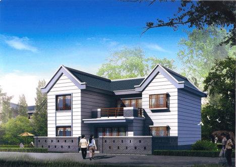 【新型农村小别墅效果图自建房设计方案二层乡村住