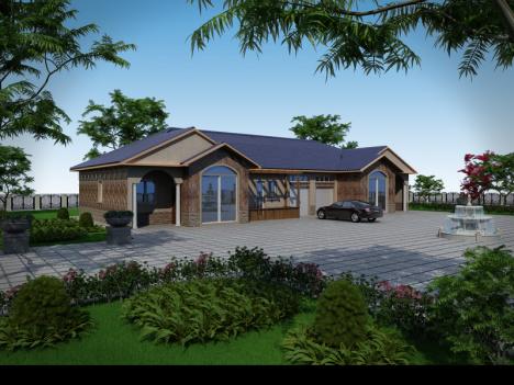 【双拼一层别墅图纸农村自建房设计图建筑结构户型一